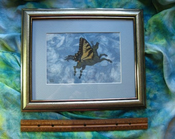 FAIRY HORSE Artwork - Paper Collage with REAL Butterfly Wings, 8 by 10 Original Art, Pegasus, Horses