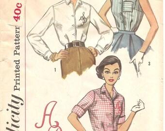 1950s Womens Blouse Pattern - Vintage Simplicity 2195 - B34