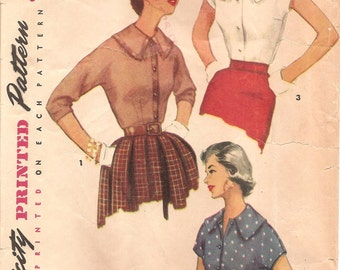 1950s Womens Blouse Pattern - Vintage Simplicity 4977 - Bust 30