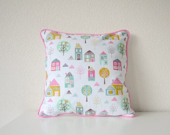 Kid's Throw Pillow Cover - Little Houses and Trees in Pink, Green, Brown & Yellow