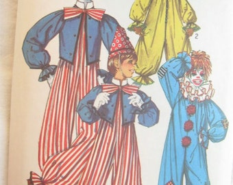 Simplicity 7162 Creepy Clown Adult Costume Vintage Sewing Pattern Bust 34