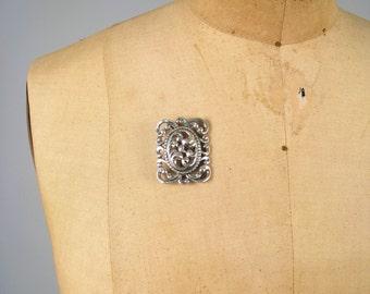 SALE • 1940s DANECRAFT sterling brooch • vintage 40s brooch • sterling silver ornate pin