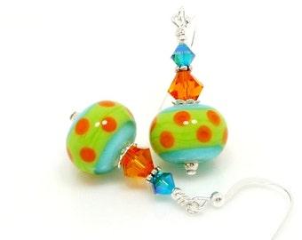 Turquoise Blue Earrings, Polka Dot Earrings, Southwestern Earrings, Lampwork Earrings, Glass Earrings, Glass Bead Earrings, Bright Earrings