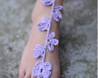Purple Barefoot Sandals, Lace Barefoot Sandals, Foot Jewelry, Beach wedding sandals, Wedding Anklet, Anklets for Women