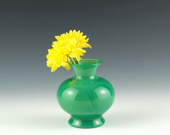 Jade Green Vase, Hand Blown Glass