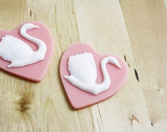 1 Swan Heart Cabochon Pink Resin 46x52mm SALE