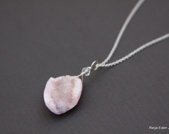 Druzy Necklace, Pink Druzy, Druzy Jewelry, Sterling Silver, One Of a Kind