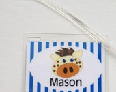 Preschool Backpack Tag Nap Mat Tag Kids Luggage Tag Giraffe Diaper Bag Tag Baby Shower Party Favor Jungle Animal Party Favor Kids Bag Tag