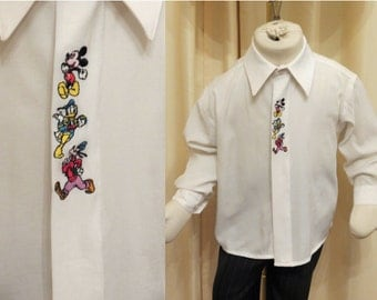 Vintage Disney Characters Boys Long Sleeved Formal Shirt Mickey Mouse Donald Duck and Goofy