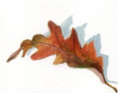 Small Acrylic Painting, Original ACEO Painting Fall Leaf Still Life, Minimalist Decor Wall Art