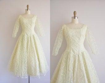 1950s celery green dress/50s Vogue prom dress/vintage 50s dress