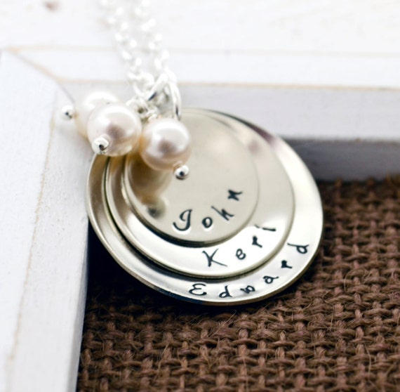 Hand Stamped Mommy Necklace, Personalized Necklace, Mother's Day, Grandmother Necklace, Child Name, Hand Stamped