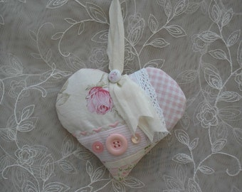 Lavender Sachet Quilted Pink Patchwork Heart