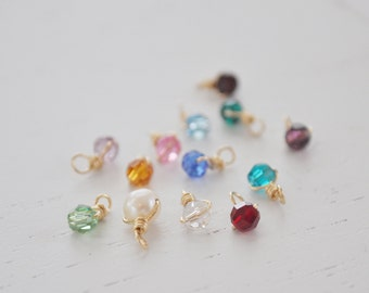 Birthstone Charm - add on - swarovski crystal bead - sterling silver or gold filled