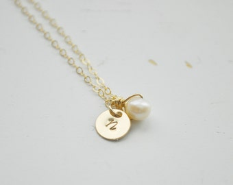 Gold Initial & Pearl Necklace - tiny gold filled disc small dot circle round personalized charm hand stamped pendant gift jewelry