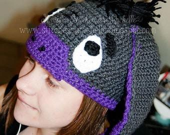 CUSTOM Donkey Crochet Hat - Eeyore - Donkey - Crochet Hat - Eeyore Crochet Hat - Eeyore Hat - Baby - Many Sizes