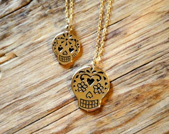 Bronze Sugar Skull Charm Necklace 14K Gold Filled Chain