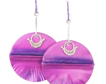 Bright Purple Aluminum Earrings - Hammered Metal Jewelry