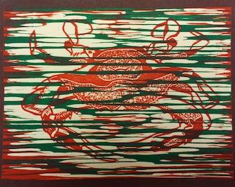 Crab (Ivory, Blue or Pink) - Original Woodblock Print