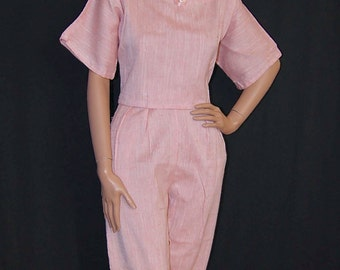 Vintage 1960s Pink High Waisted Pants and Top / 2 Piece Summer Pantsuit Set / 60s Cigarette Pants and Crop Top S M