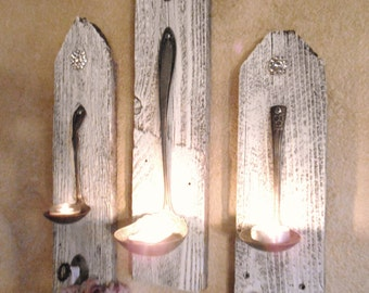 3 Shabby Chic Hanging Candle Holders ,Silver Plate Ladle wall sconces ,Rhinestones, Vintage Hardware, home decor,Tawnystreasures