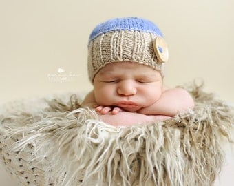 Newborn photo prop, newborn hat, newborn boy, newborn girl, knit newborn hat, newborn props, Newborn button beanie. Choose your own colors