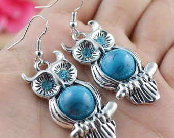 Handmade Owl Tibetan Silver Plated and Turquoise Hook Earrings Dangle Earrings, Jewellry, Jewelry,