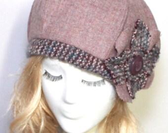 Beret Hat flower, Plum Vintage Wool Beret, Winter Hat, French Beret, Wool Hat, Hat Flower, Sale Hat