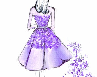 Watercolour illustration Titled Retro in Elie Saab