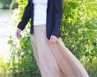 """PETITE Full length chiffon maxi skirt tan, khaki, gold tone  38"""", 39"""" long w elastic waist  lined small medium large 4 season skirt"""
