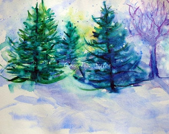 Pine Tree Forrest Winter Landscape - ORIGINAL Winter Watercolour - Piñon Pine Fir Spruce Trees  - 9x12