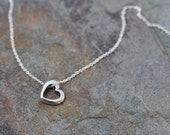 Open Heart charm necklace on silver chain, sterling silver heart charm, dainty silver heart necklace