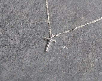 0.925 Sterling Silver cross necklace - dainty silver cross on a delicate silver necklace