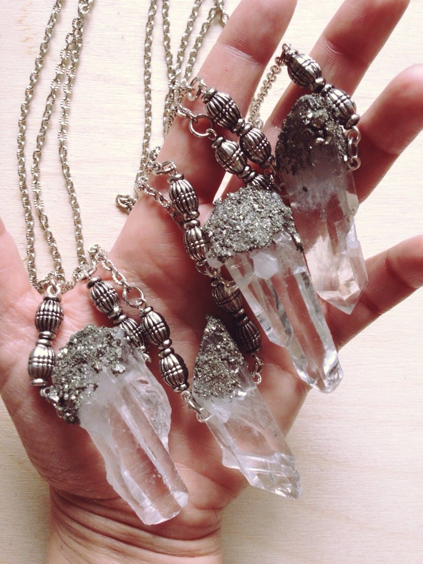 clear quartz crystal necklace raw quartz crushed pyrite. Black Bedroom Furniture Sets. Home Design Ideas