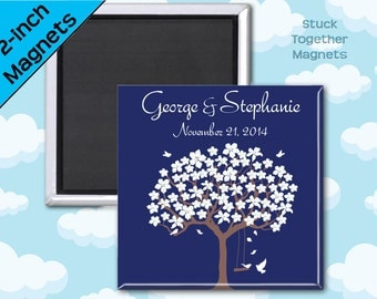 Romantic Navy Favor Magnets - Tree with Love Birds - 2 Inch Squares - Set of 10 Magnets