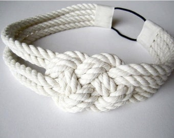 Sailor knot headband, nautical, cotton, rope