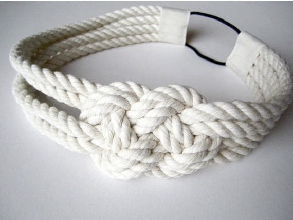 Sailor knot headband, nautical, cotton, rope