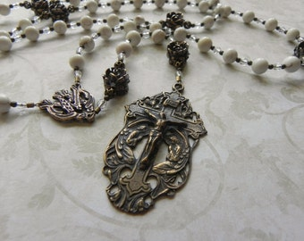 Catholic Rosary - Ave Maria - Praying Angels - White Gemstone Rosary Beads - Antique Bronze - Roses - Confirmation - First Communion