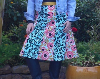 Extra Large Womens Coral White n Mustard, Turquoise n Black, Cotton Skirt -PERFECT