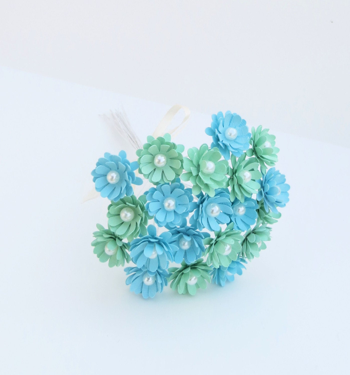 20 mint green and light blue paper flowers with by kristamaestudio - Light blue and mint green ...