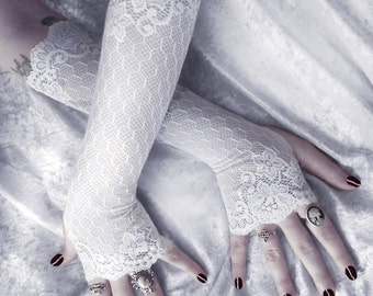 Lace Arm Warmers in White Embroidered Floral & Geometric Long Scalloped Sleeves   Wedding Rustic Bridal Romantic Mori Opera Fairy   Grace
