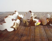 Set of Six Vintage Pottery Rainbow Star and Cloud Napkin Rings