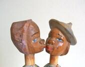 Antique Folk Art Kissing Couple Bottle Cork — Italian Hand-Carved Wood