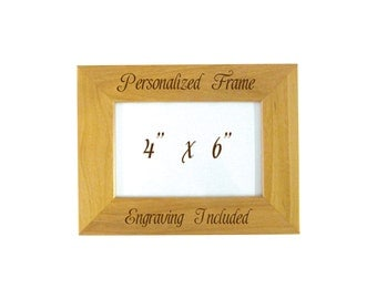 Engraved Picture Frame, Custom Wood Picture Frame, Personalized Engraving Included, J1290035