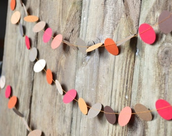 Thanksgiving Paper Circles Garland - Autumn orange, brown, kraft, red and beige