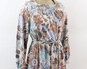 secretary dress - floral print 70s knit day dress - square neckline - large xlarge
