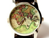 Watch, mens watch, map watch, World map watch, antique map