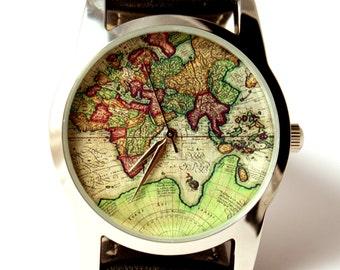 Watch, mens watch, map watch, World map watch, antique map