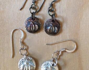 tiny pumpkin earrings, shiny silver or patina, harvest earrings, Halloween earrings, Thanksgiving earrings