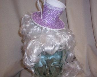 Teacup Fascinator- Purple and White Flowered Teacup Headband- Mini Hat